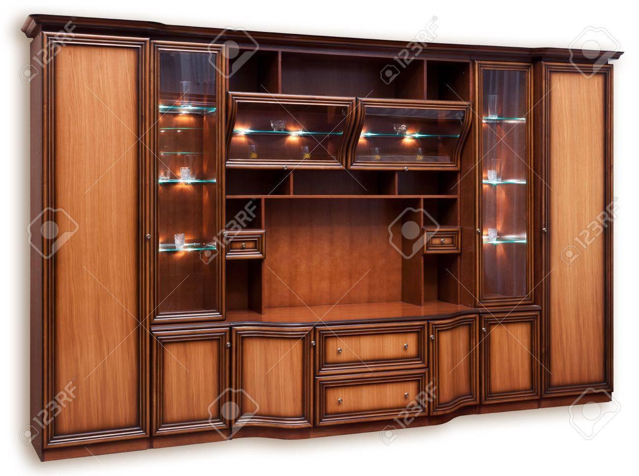 Kast Voor Glazen : Houten kast met glazen deuren. geà ¯ soleerd op wit royalty vrije
