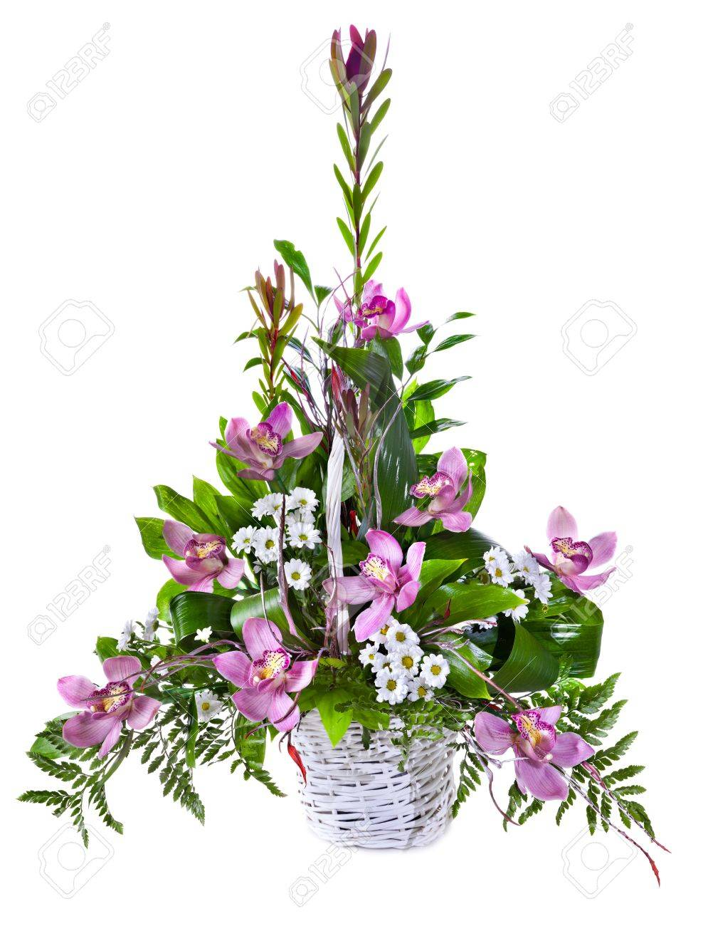 Bright flower bouquet in basket isolated over white background Stock Photo - 13268438