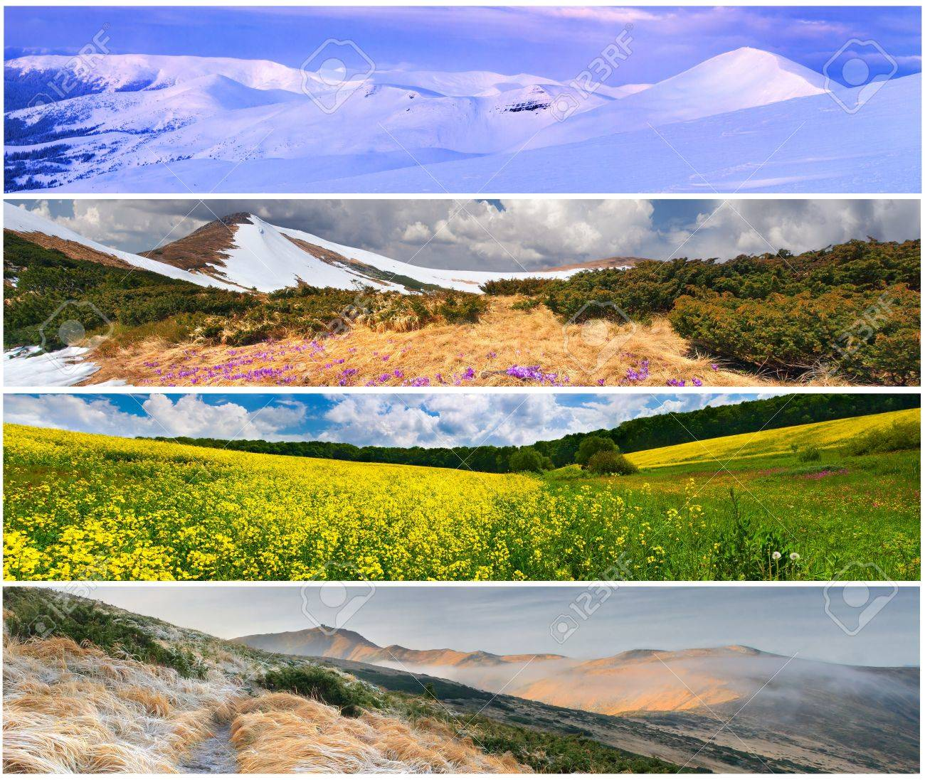 Set of the 4 seasons landscape for banners Stock Photo - 13700551 - Set Of The 4 Seasons Landscape For Banners Stock Photo, Picture And