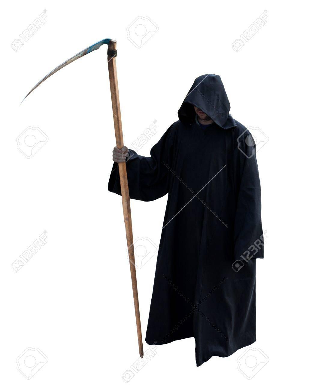 Grim Reaper Geïsoleerd Op Het Witte Royalty Vrije Foto Plaatjes