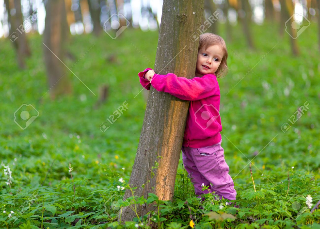 Cute little girl hugging a tree trunk in the spring forest - 16740913