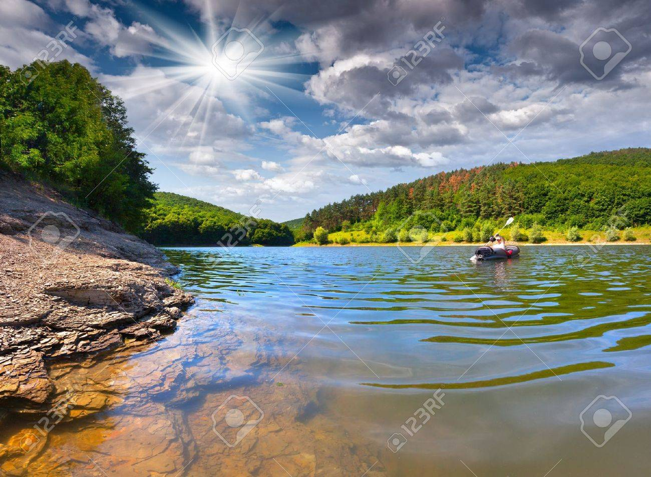 summer trip on the river by canoe Stock Photo - 19454651