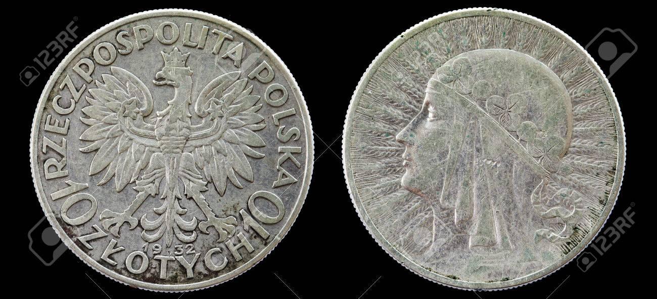 Polen Antike Münzen Im Wert Von Zehn Zloty Von 1932 Isoliert Auf