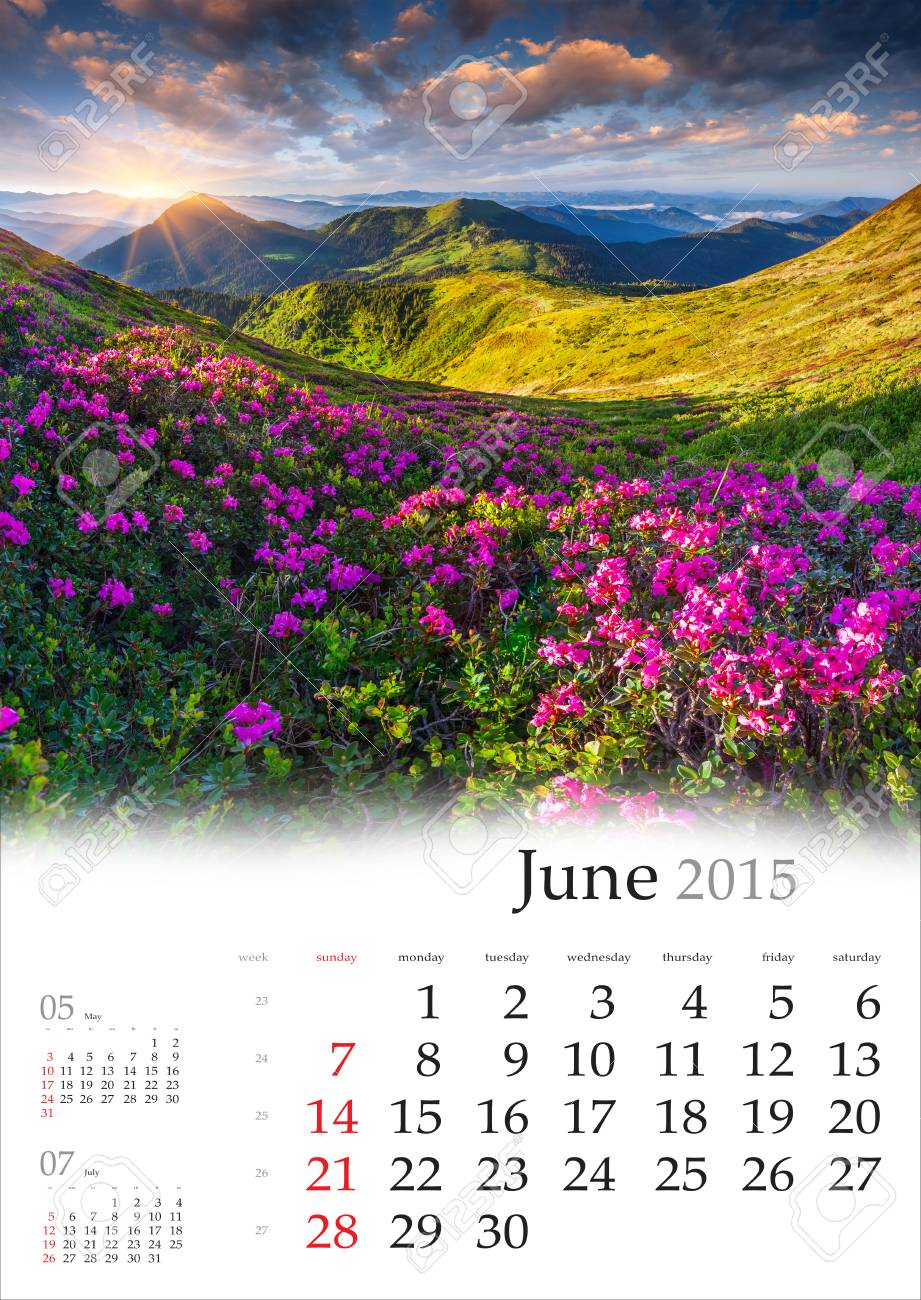 2015 calendar june beautiful summer landscape in the mountains stock photo 31971623