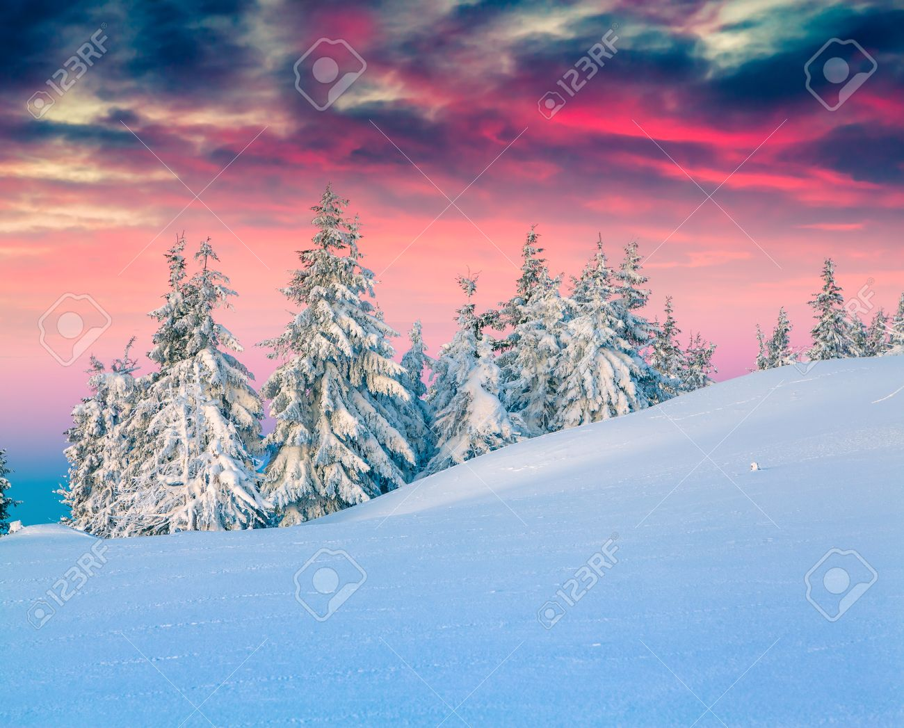 Colorful winter scene in the snowy mountains. - 49036168