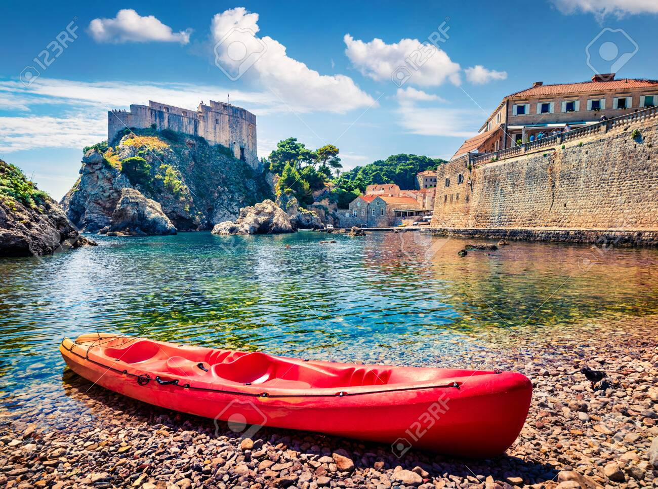 Sunny morning view of famous Fort Bokar in city of Dubrovnik. Colorful summer scene of Croatia, Europe. Beautiful world of Mediterranean countries. Architecture traveling background. - 140764429