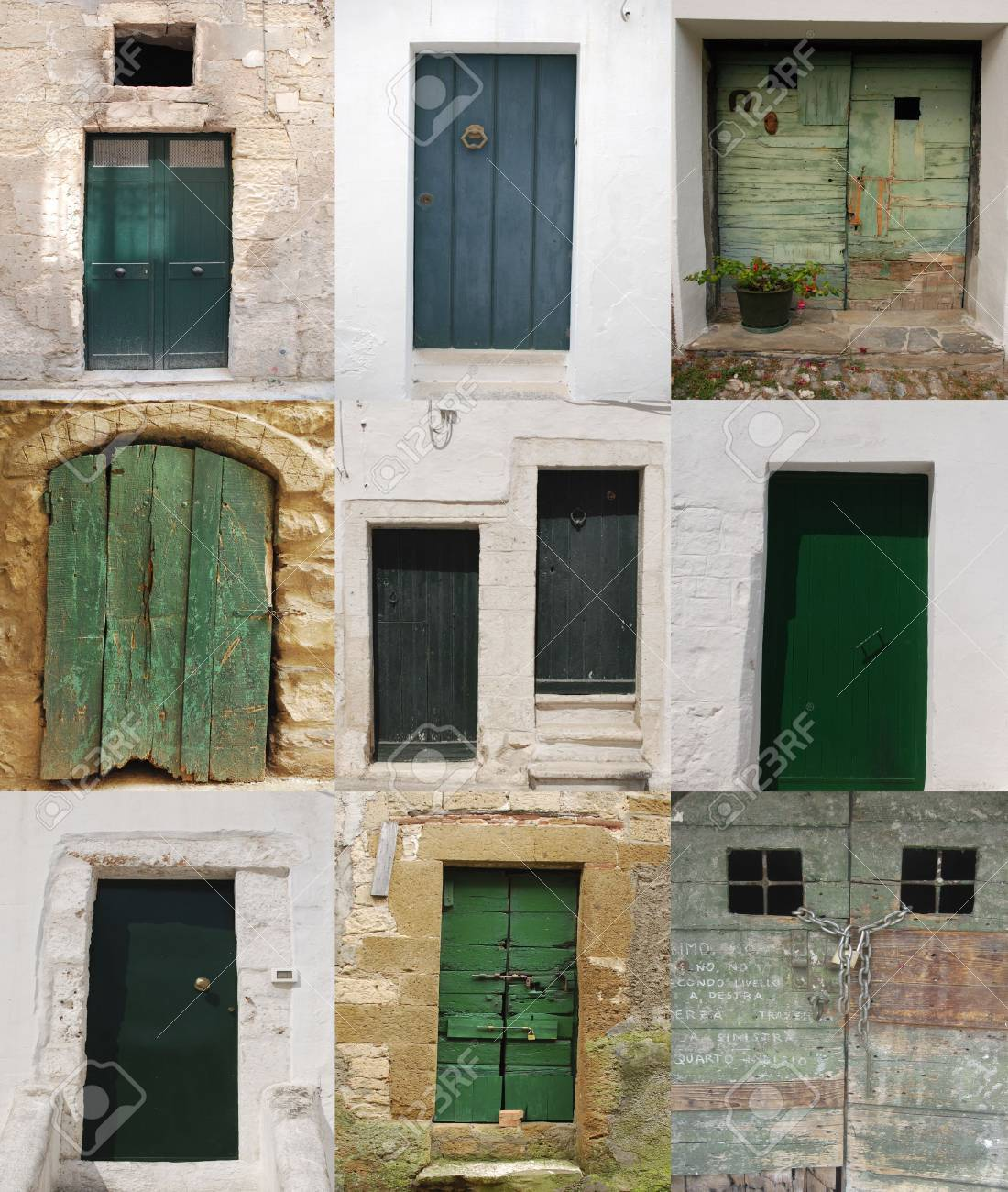 A collage of ten old green wooden Italian doors Stock Photo - 4260315 & A Collage Of Ten Old Green Wooden Italian Doors Stock Photo Picture ...