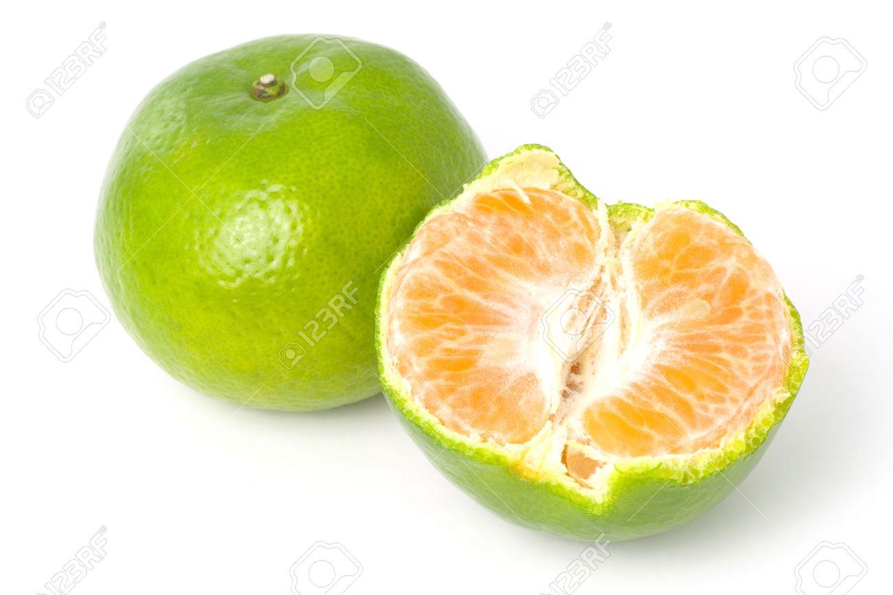 Green Mandarin Orange Isolated On White Background Stock Photo ...