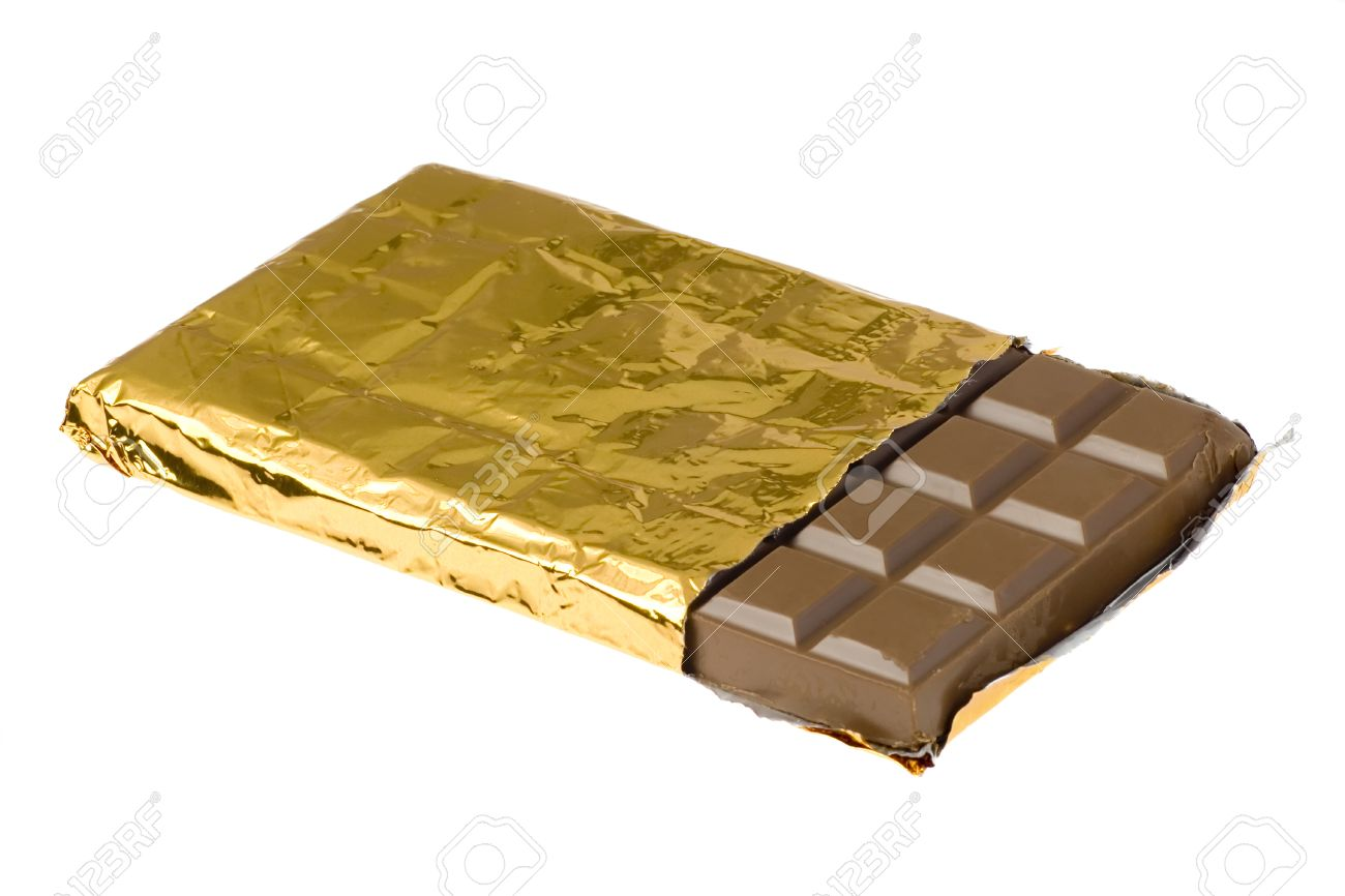 Bar Of Chocolate In Gold Wrapping Isolated On White Background ...