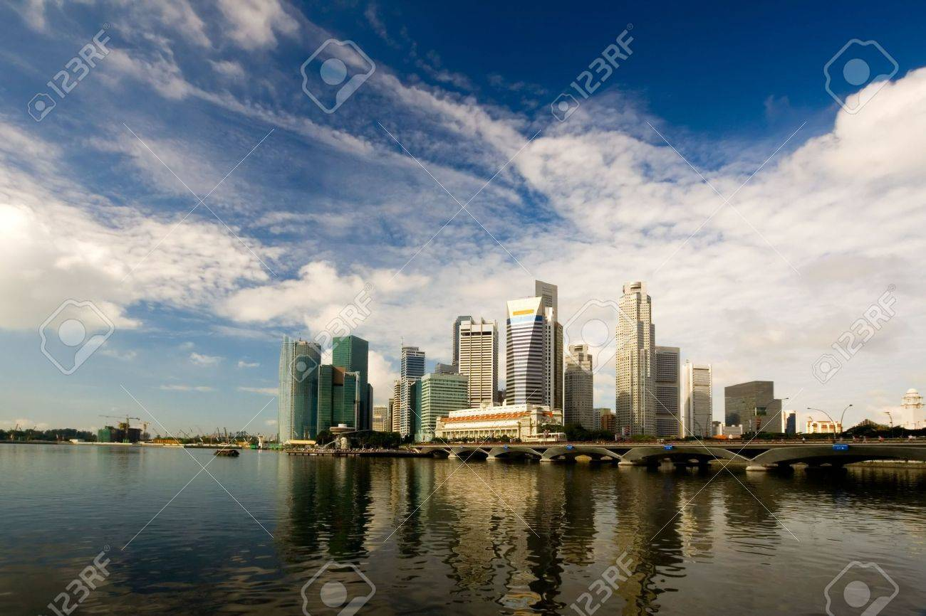 Skyline of the financial district in Singapore Stock Photo - 2745816