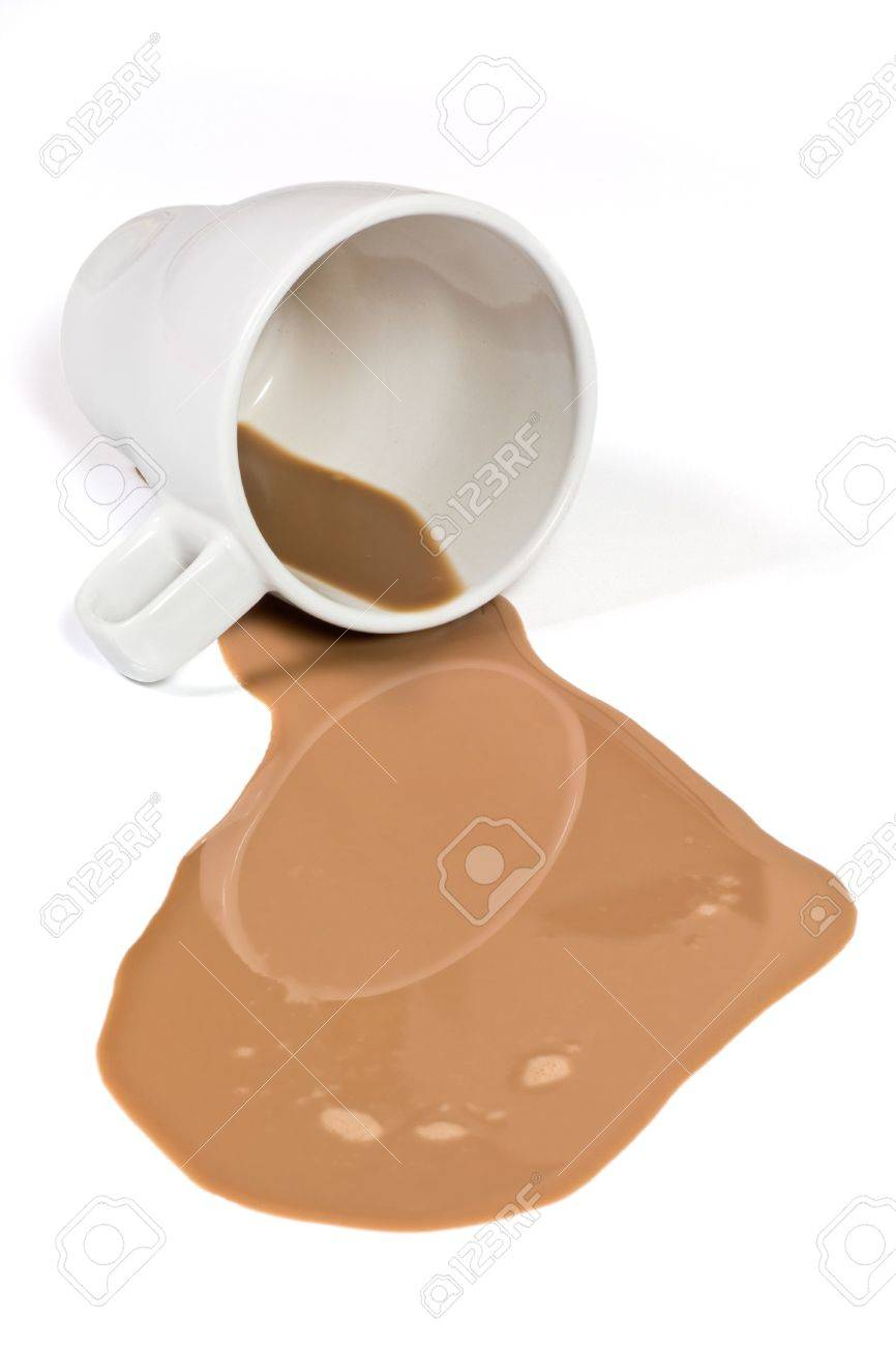 White cup with some spilled chocolate milk Stock Photo - 3808518