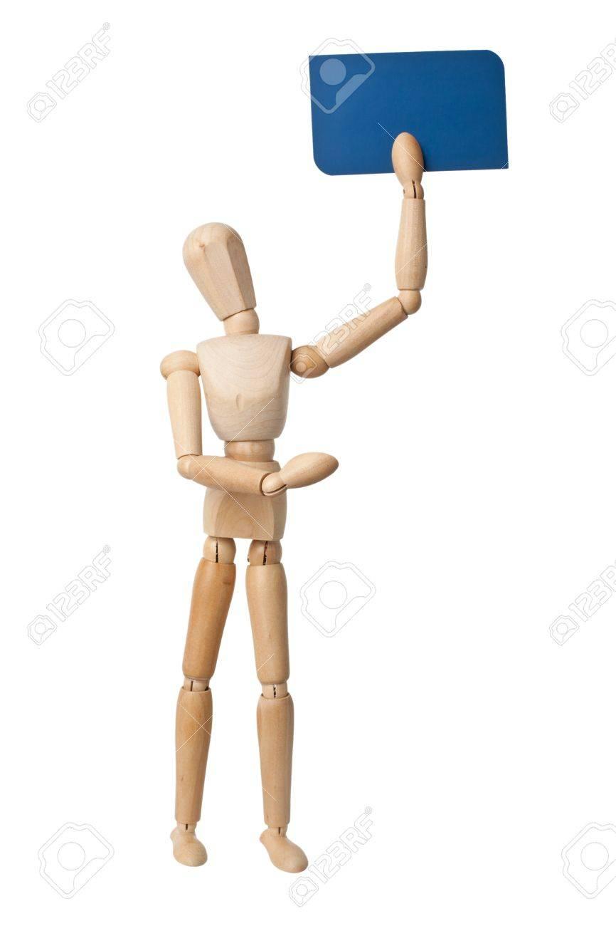 Mannequin En Bois Supportant Une Carte De Visite Couleur Bleue