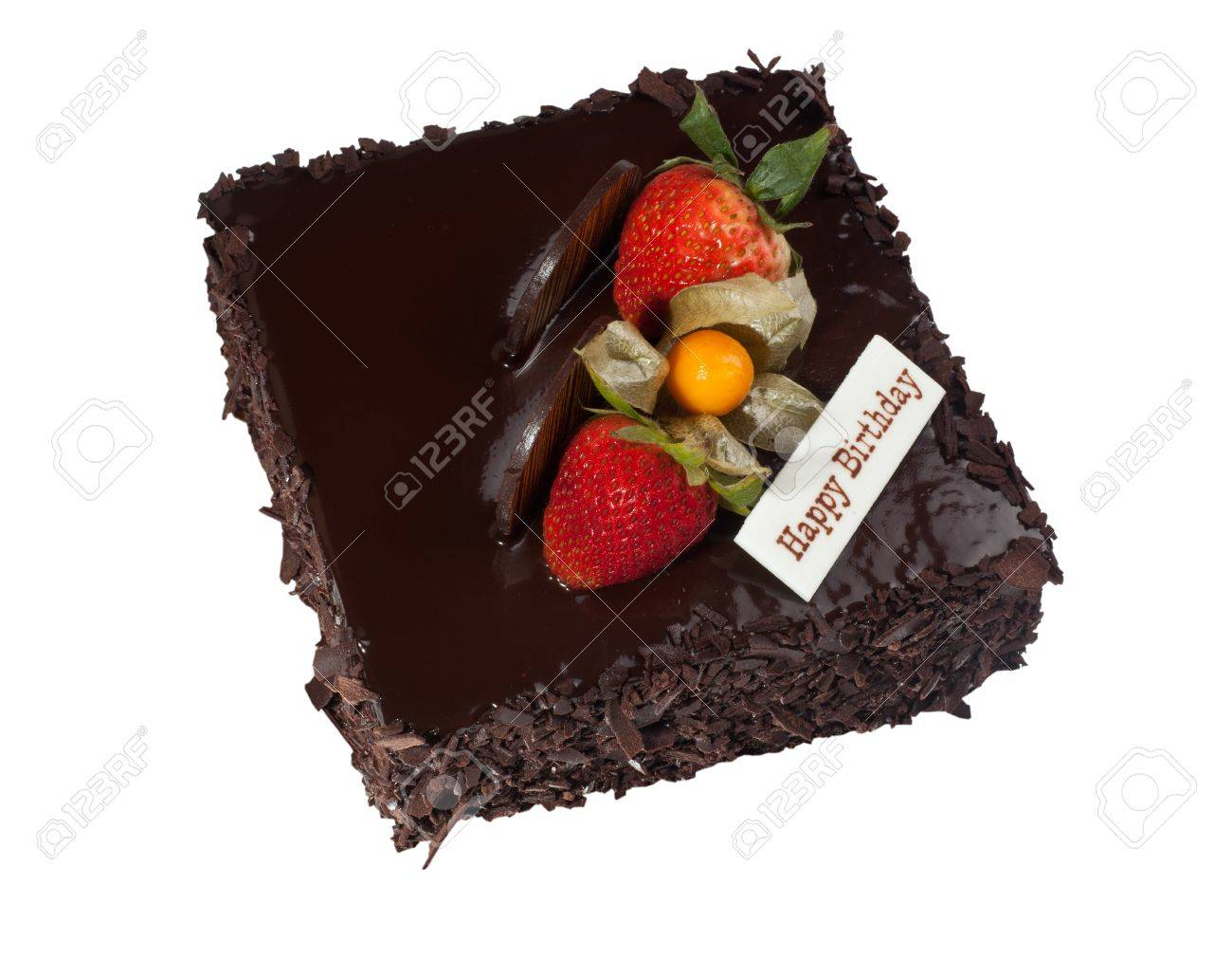 Chocolate Birthday Cake With Strawberry Topping Isolated On White Background Stock Photo