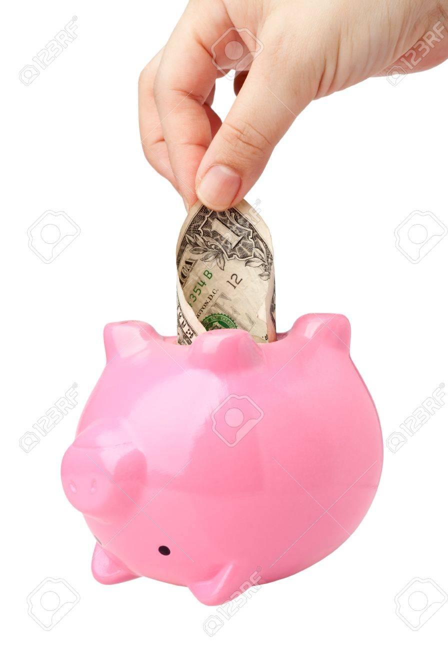 Foto De Archivo   Mano Sacar Dinero De Un Banco De Color Rosa Alcancía  Aislados Sobre Fondo Blanco