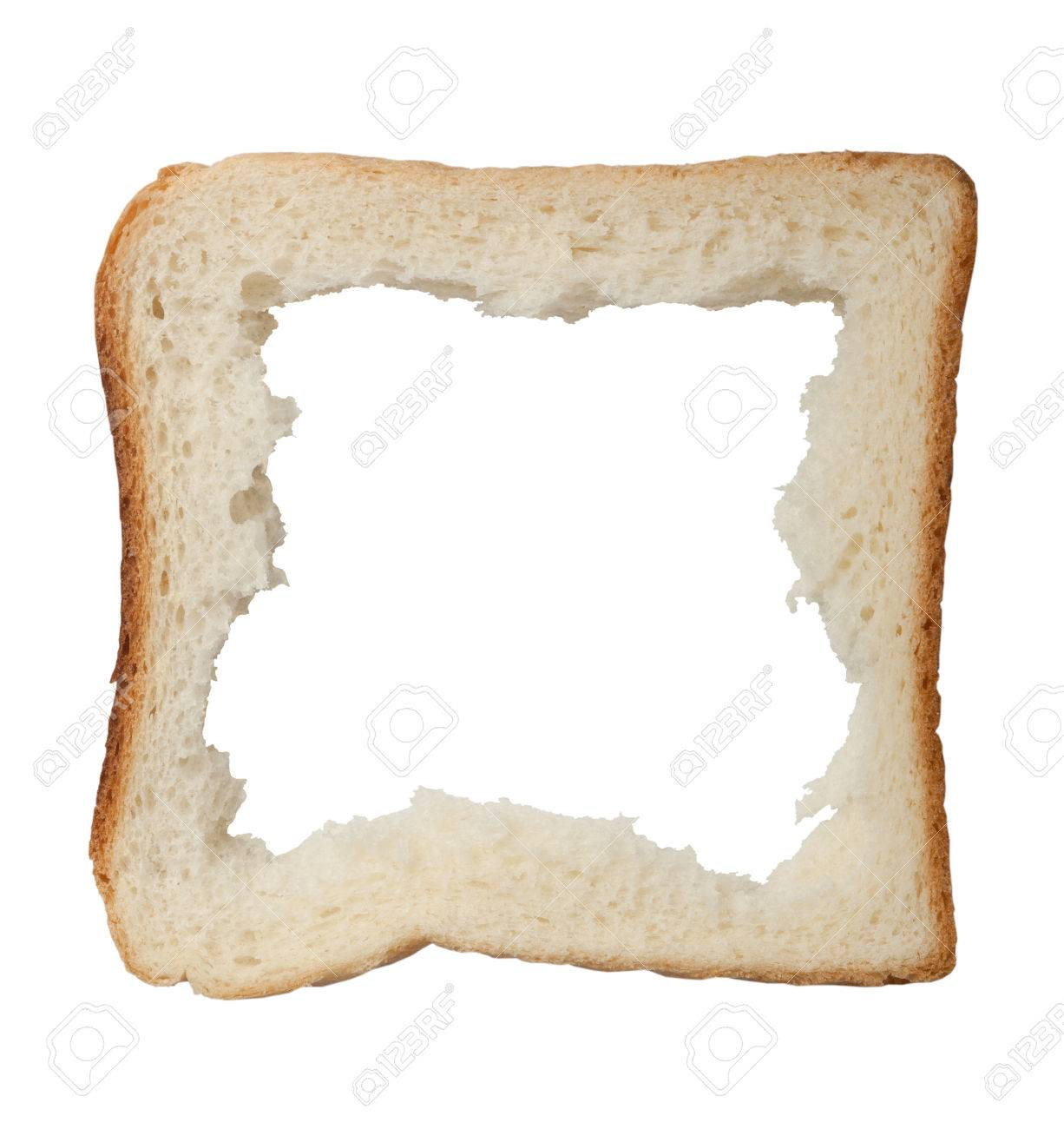 Hole In A Slice Of Bread Forming A Frame Isolated On White ...