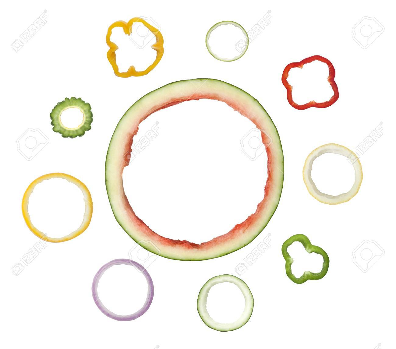 Different Types Of Ring Shaped Fruit And Vegetable Peel Isolated ...