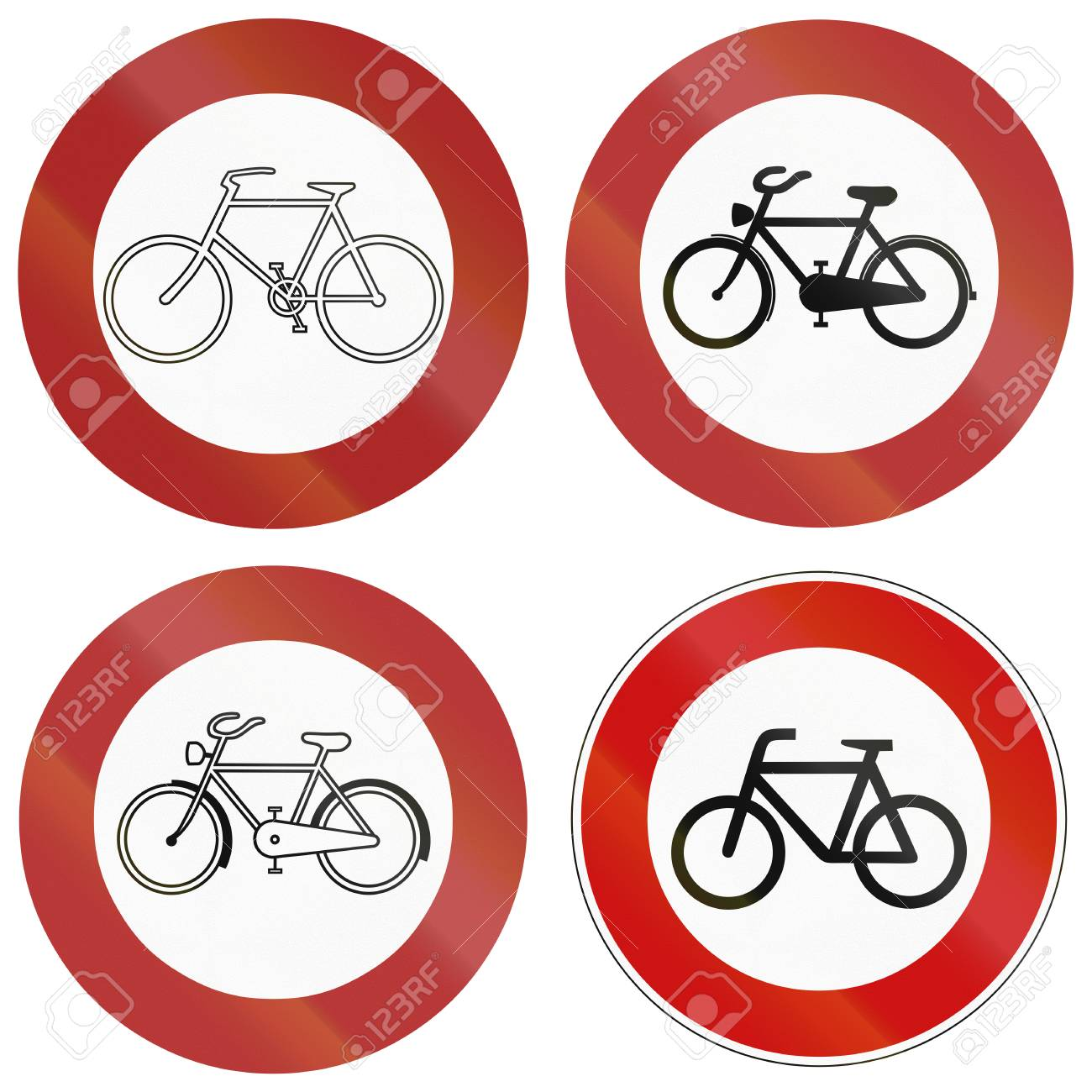 Collection Of Historic And Modern Bottom Right No Bicycle Signs Stock Photo Picture And Royalty Free Image Image 39651926
