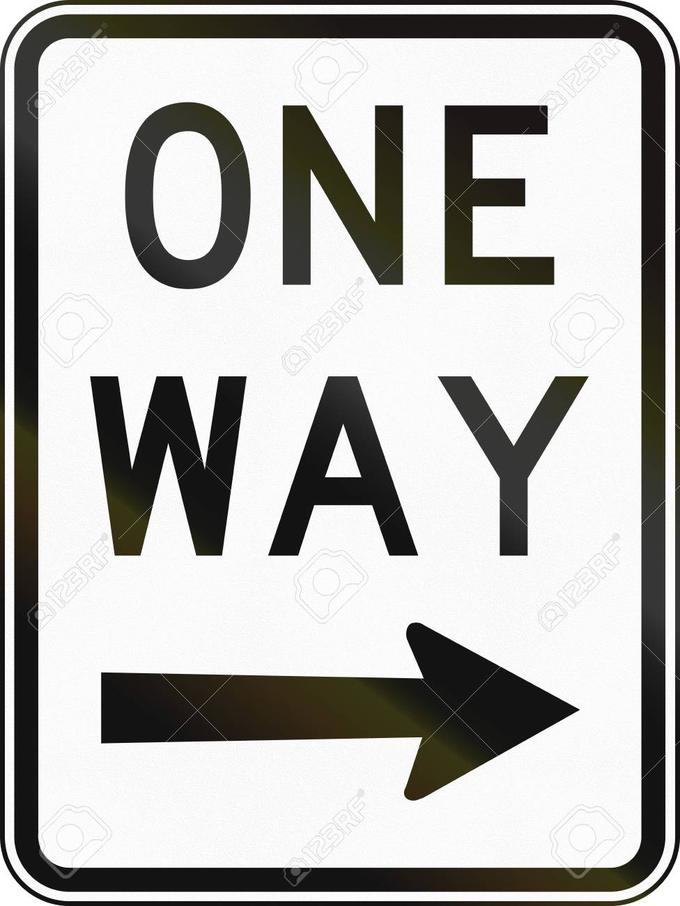 An Australian Road Sign One Way Traffic To The Right Stock Photo