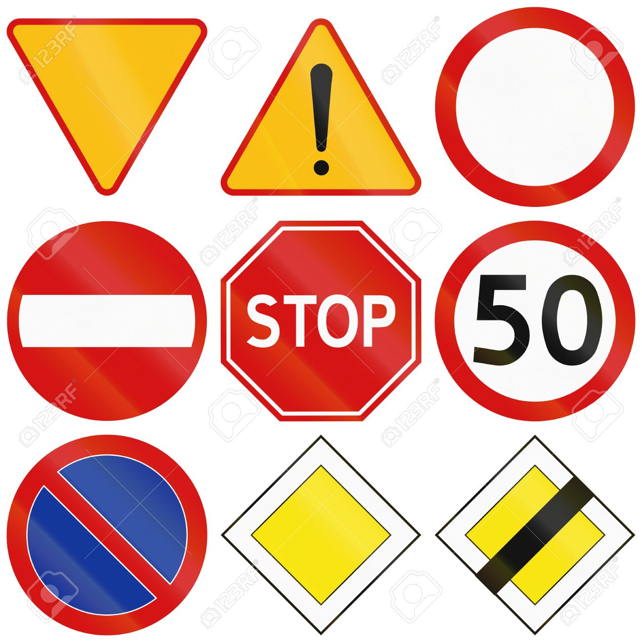 Traffic signs stock photos royalty free business images collection of the most common traffic signs in poland including yield stop general biocorpaavc