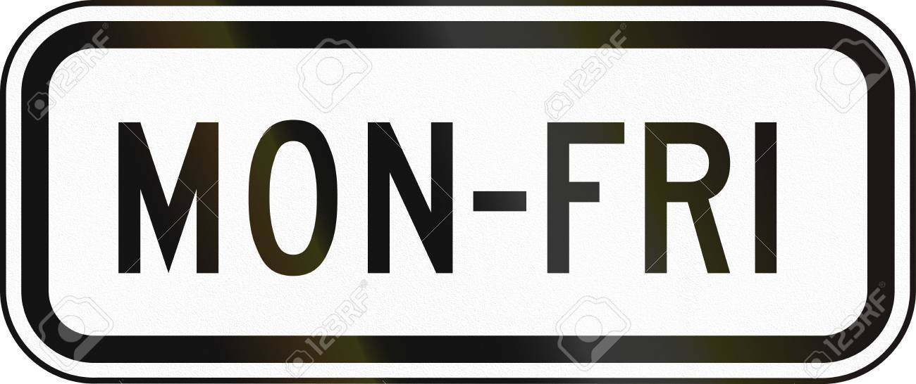 United States Mutcd School Zone Road Sign Monday To Friday Stock