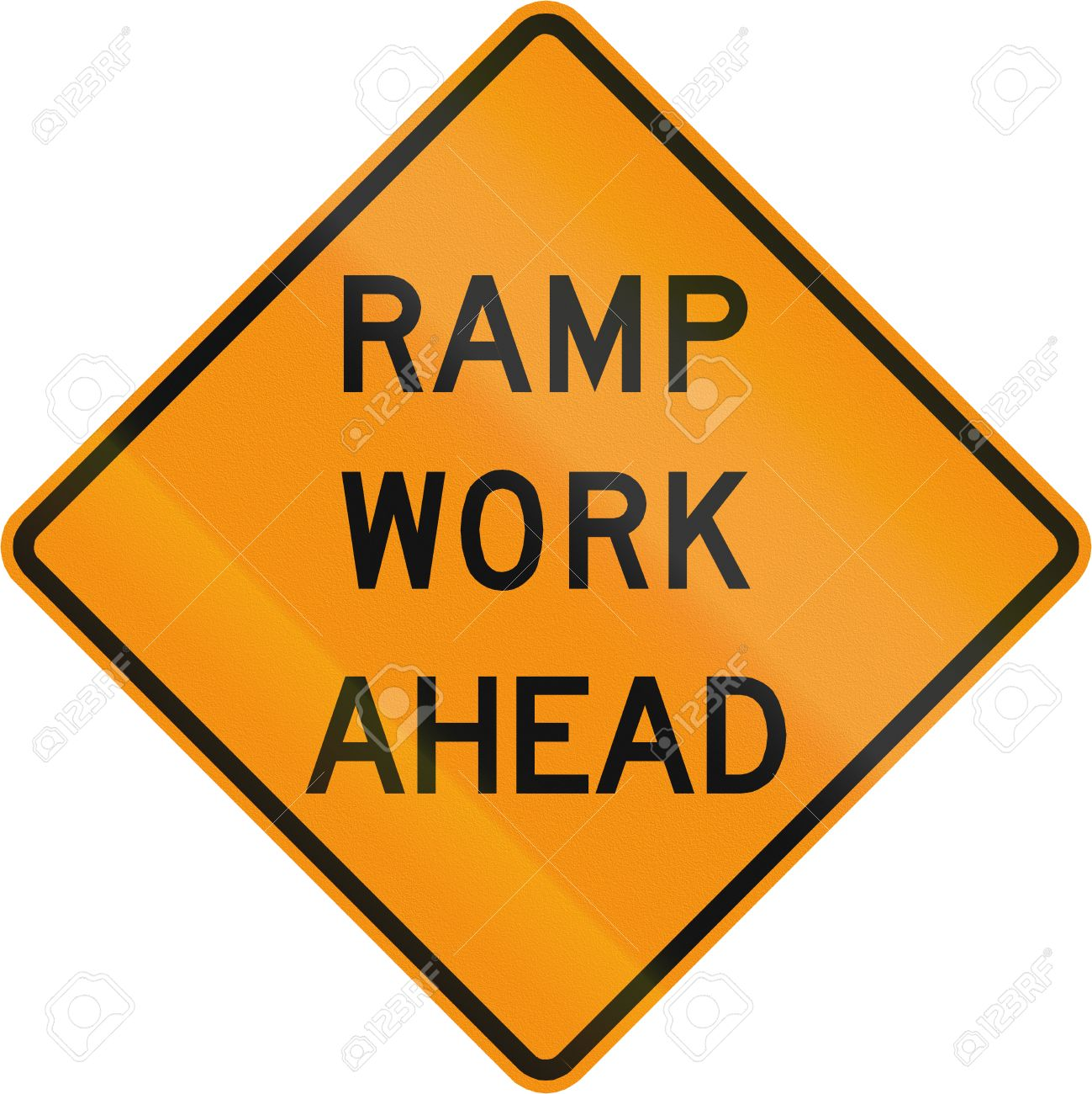 Road Sign Used In The US State Of Virginia - Ramp Work Ahead ...