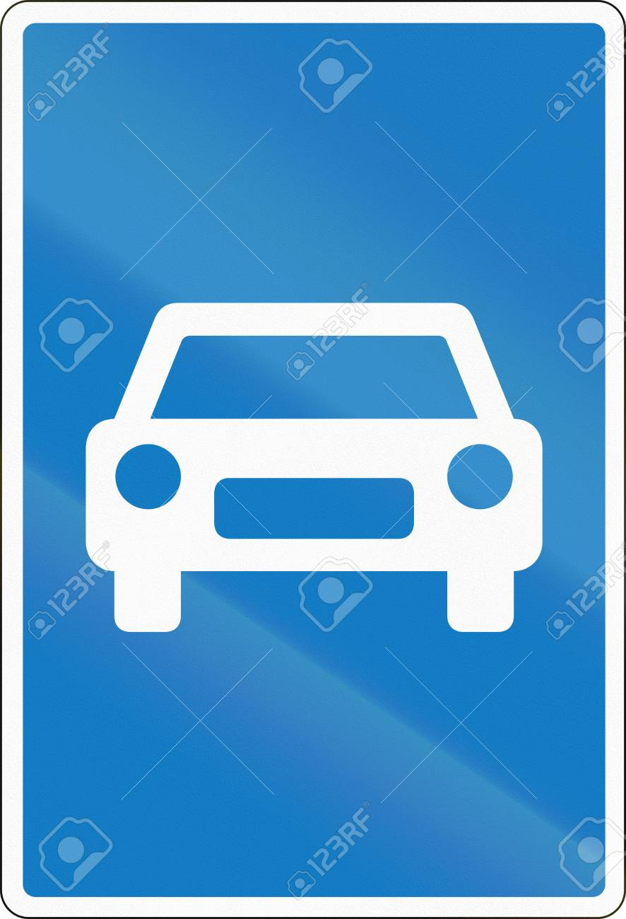 Señal de tráfico utilizada en Dinamarca - Autopista de tránsito rápido,  solo vehículos automotores permitidos