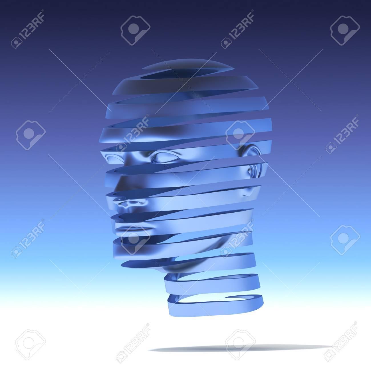 3D concept human head helix slices Stock Photo - 14276846
