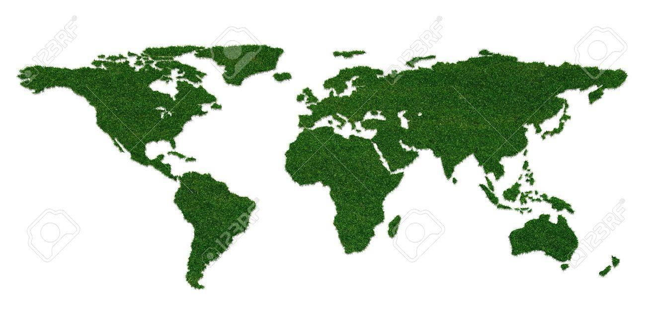 Stylized world map with grass on continents Stock Photo - 14522455