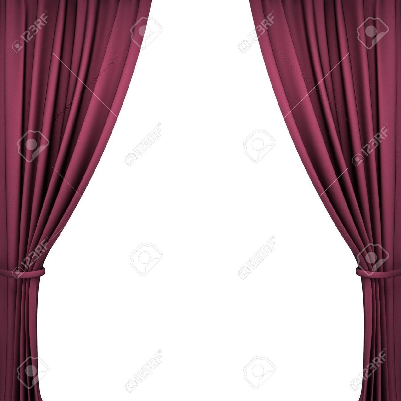 Rood fluweel theater gordijnen op een witte achtergrond royalty ...