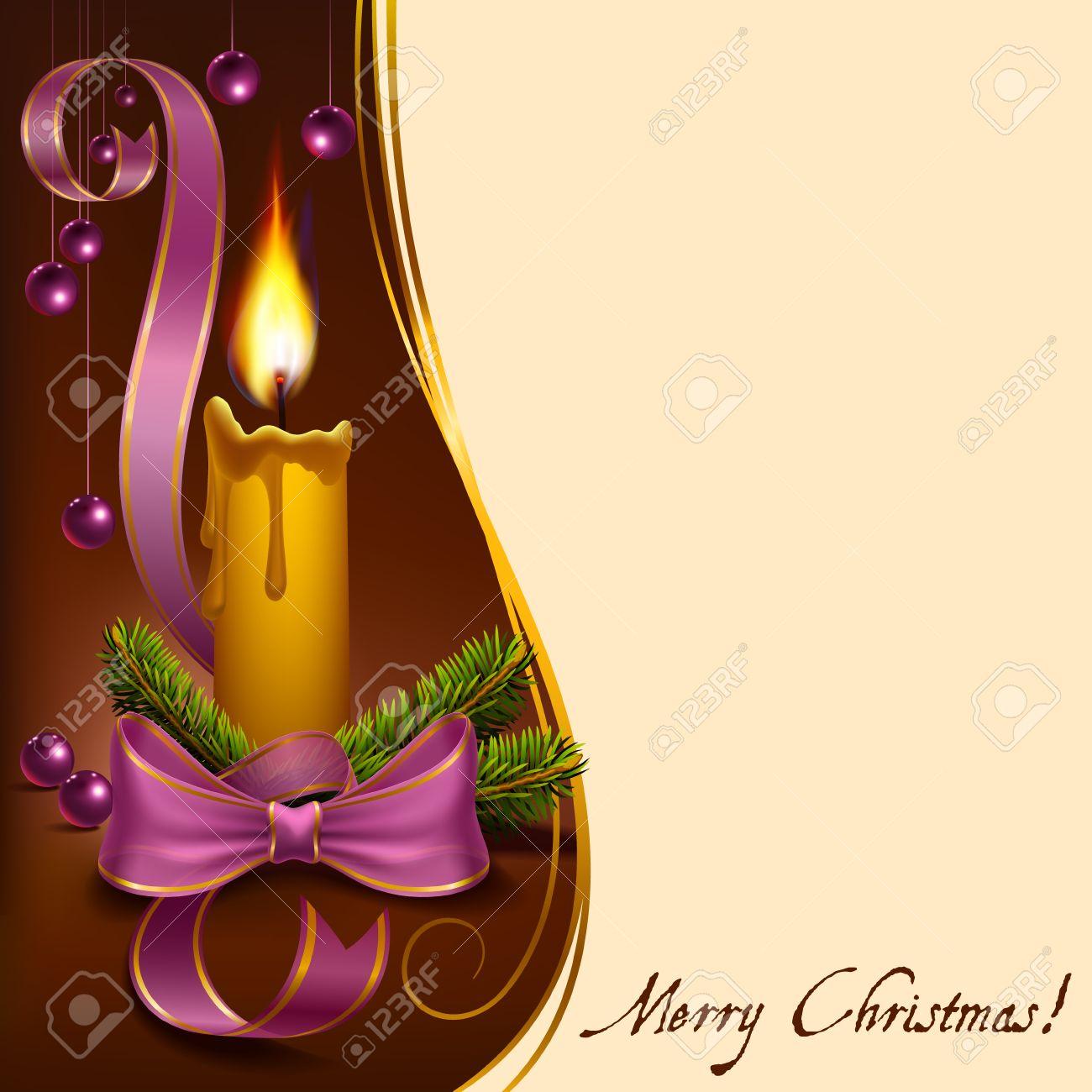 vela de navidad decorado con ramas de abeto cintas y abalorios a formato vectorial foto