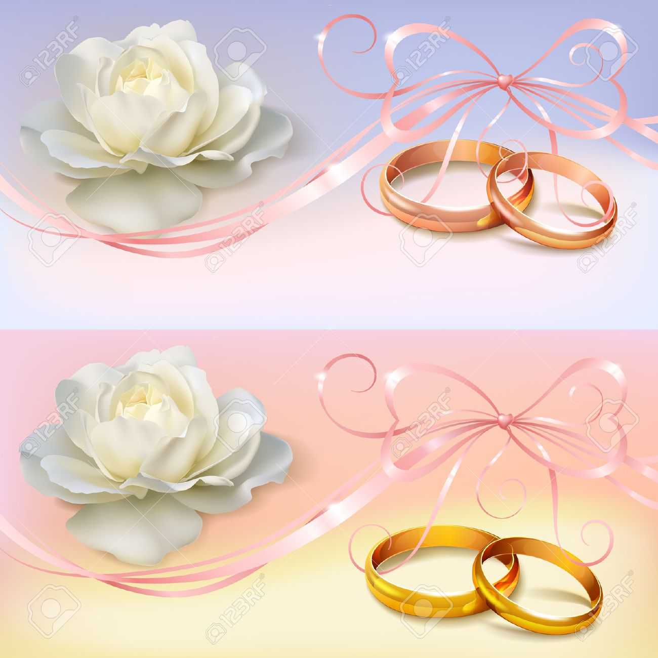 Invitation Card For Wedding With Flower Ribbon And Wedding Rings