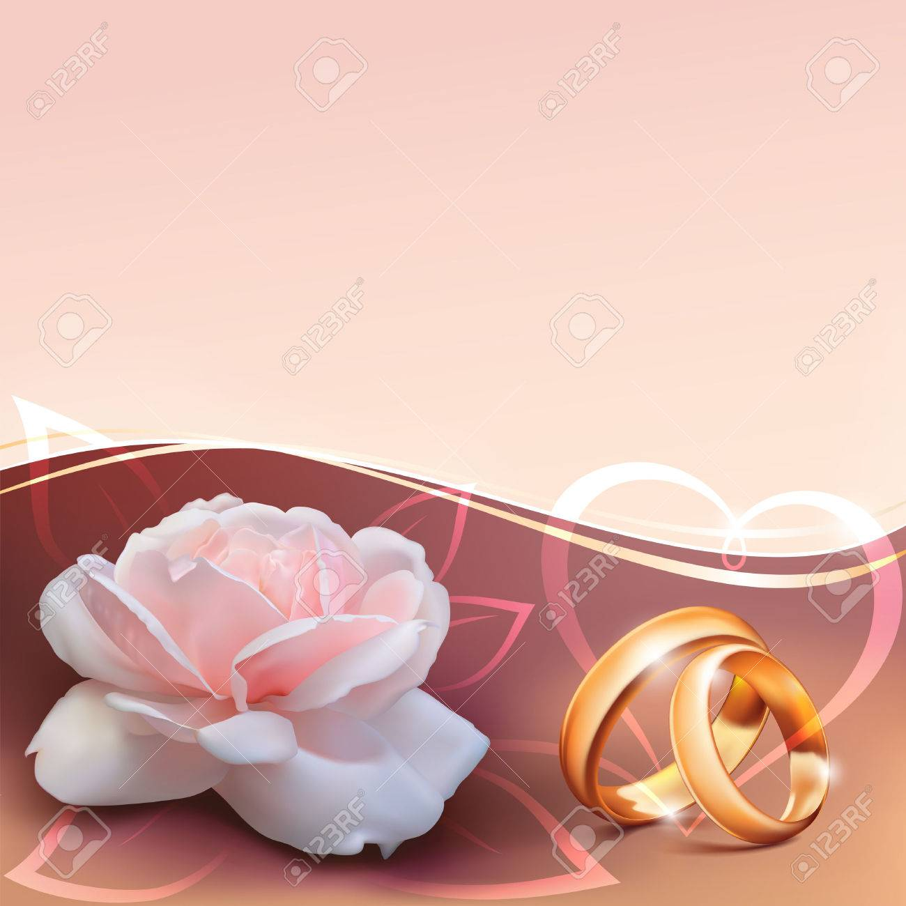 Invitation Card For Wedding With Flower, Ribbon And Wedding Rings ...