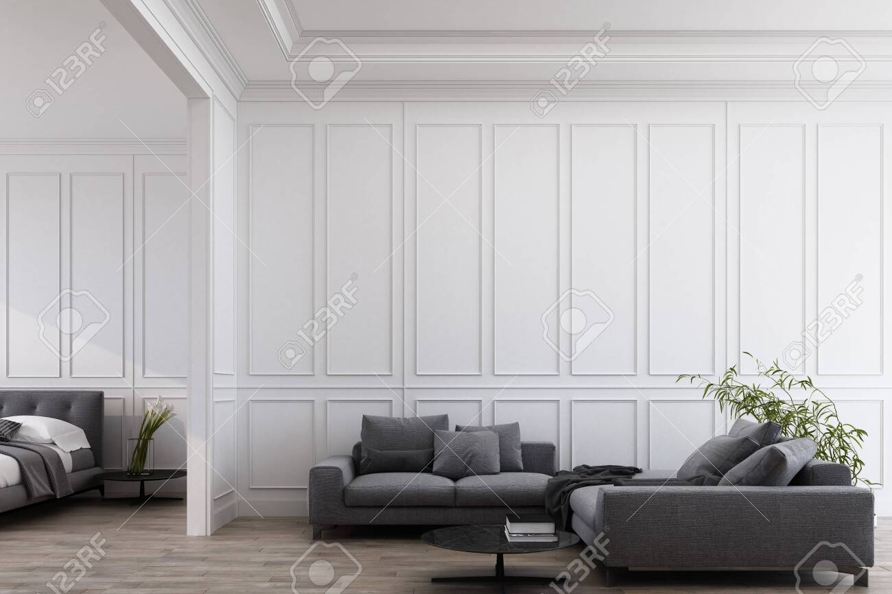 Modern classic white living and bedroom with grey furniture , panels and wooden floor. 3d render illustration mock up. - 131467135
