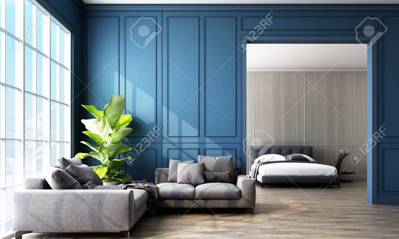 Modern Classic Blue Living And Bedroom Space With Wall Panels Stock Photo Picture And Royalty Free Image Image 131467234