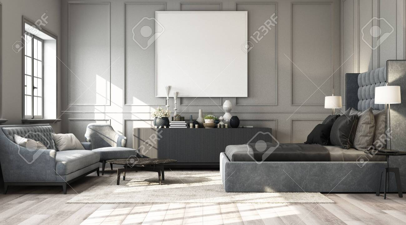 Modern classic bedroom with wall decorate by classic element and furniture grey tone and frame artwork. 3d render - 131472272