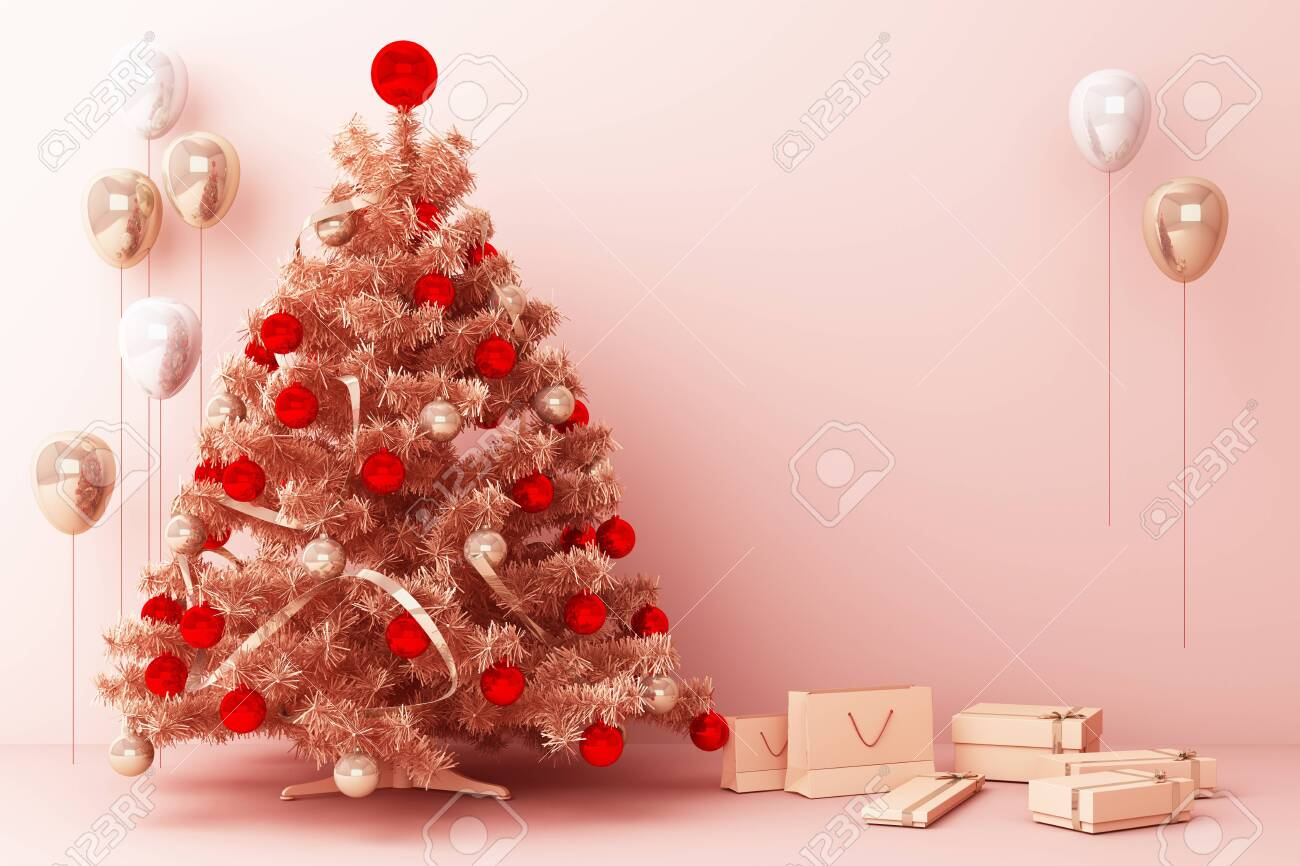 Christmas Tree And Pink Gold Balloon With Decorations And Gift Stock Photo Picture And Royalty Free Image Image 131474327