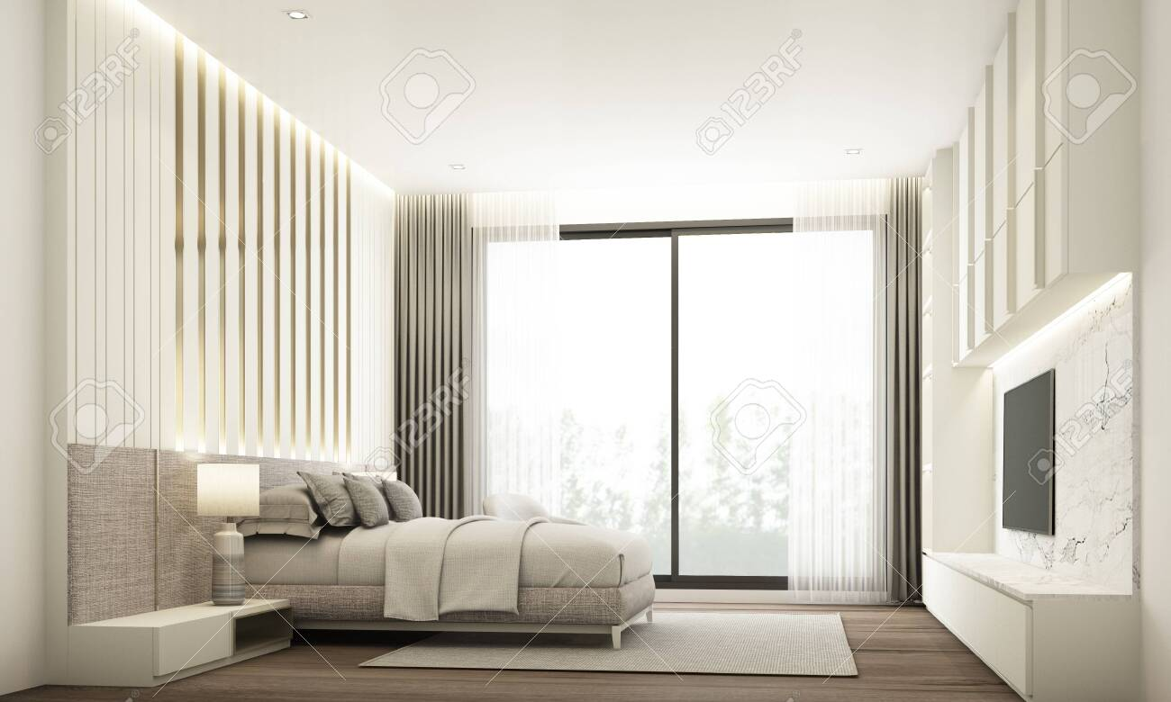 Bedroom Modern Minimal Style With Built In Headboard And Tv Cabinet Stock Photo Picture And Royalty Free Image Image 132103200