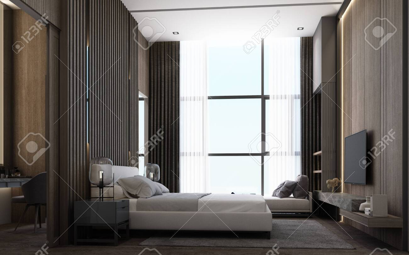 Interior Design Of Modern Luxury Bedroom Room With Bed And Night Stock Photo Picture And Royalty Free Image Image 132808138
