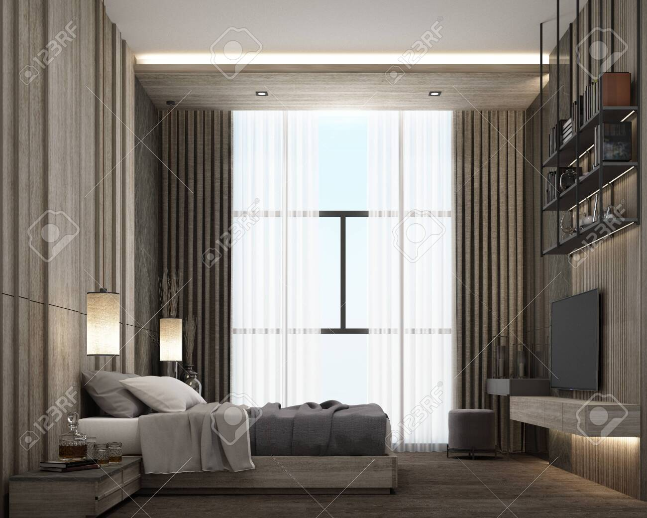 Interior Design Of Modern Luxury Bedroom Room With Bed And Night Stock Photo Picture And Royalty Free Image Image 132808146