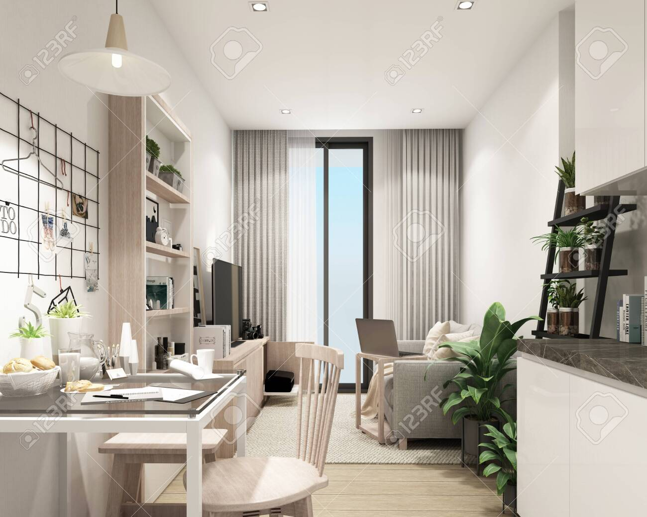 modern living room in condominium with modern contemporary style interior and wooder floor with furniture built in 3d rendering - 150511583