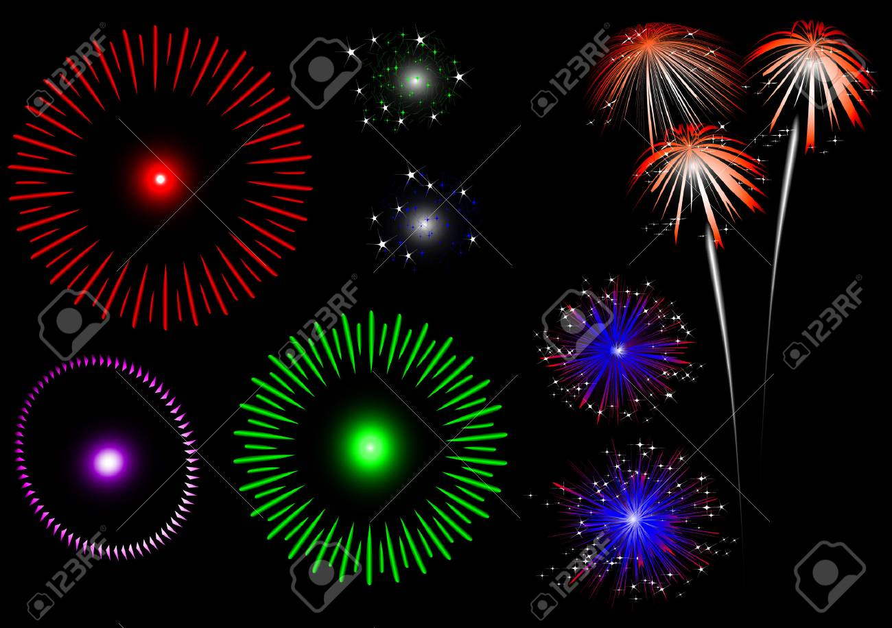 colorful fireworks - set Stock Vector - 4376702