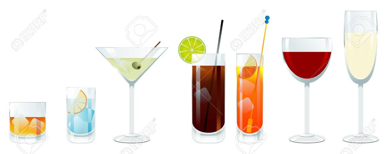 Vector wine and cocktail glasses Stock Vector - 4488469