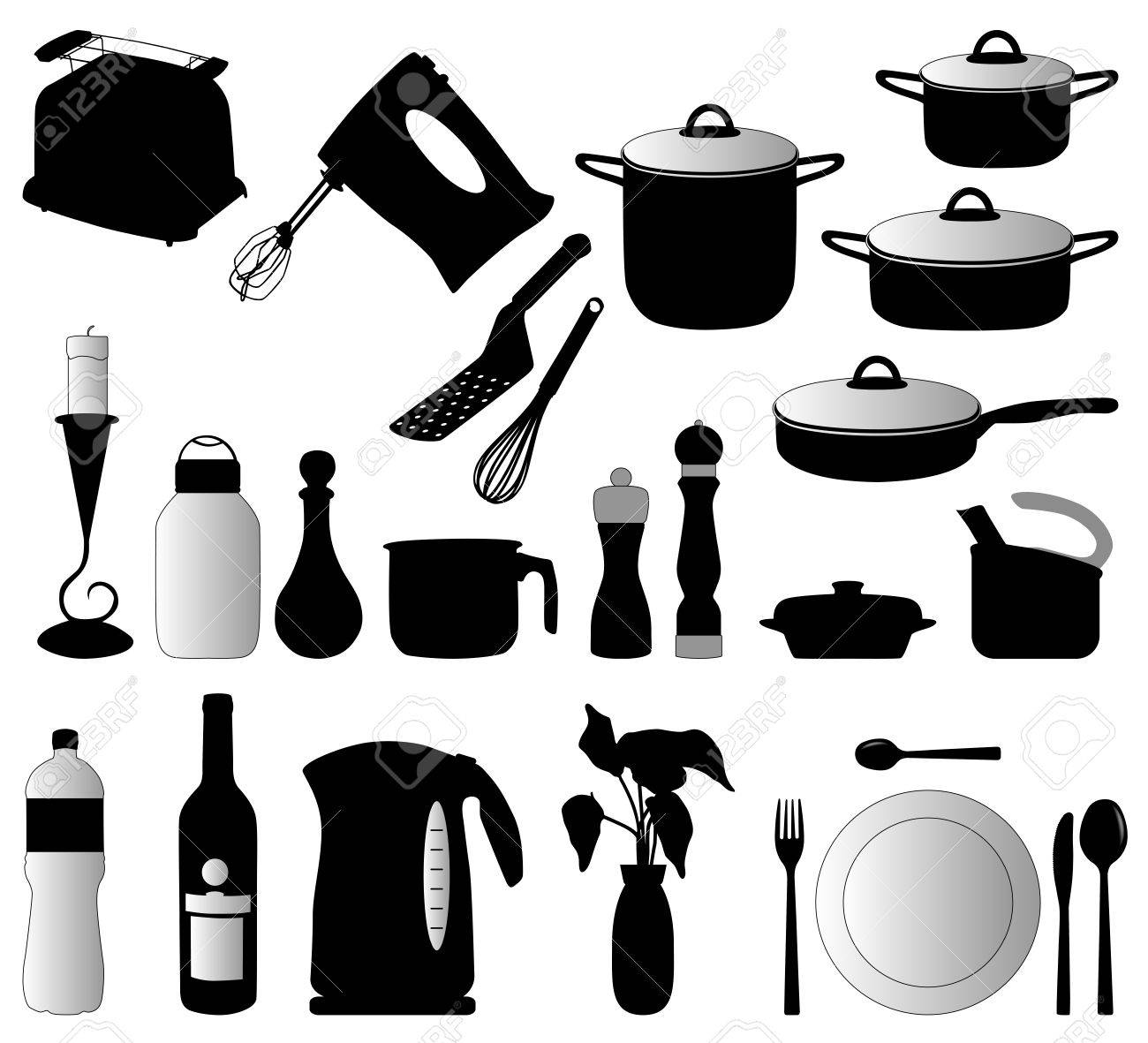 Dishes, Pan, Mixer And Other Kitchen Objects Silhouette Vector ...
