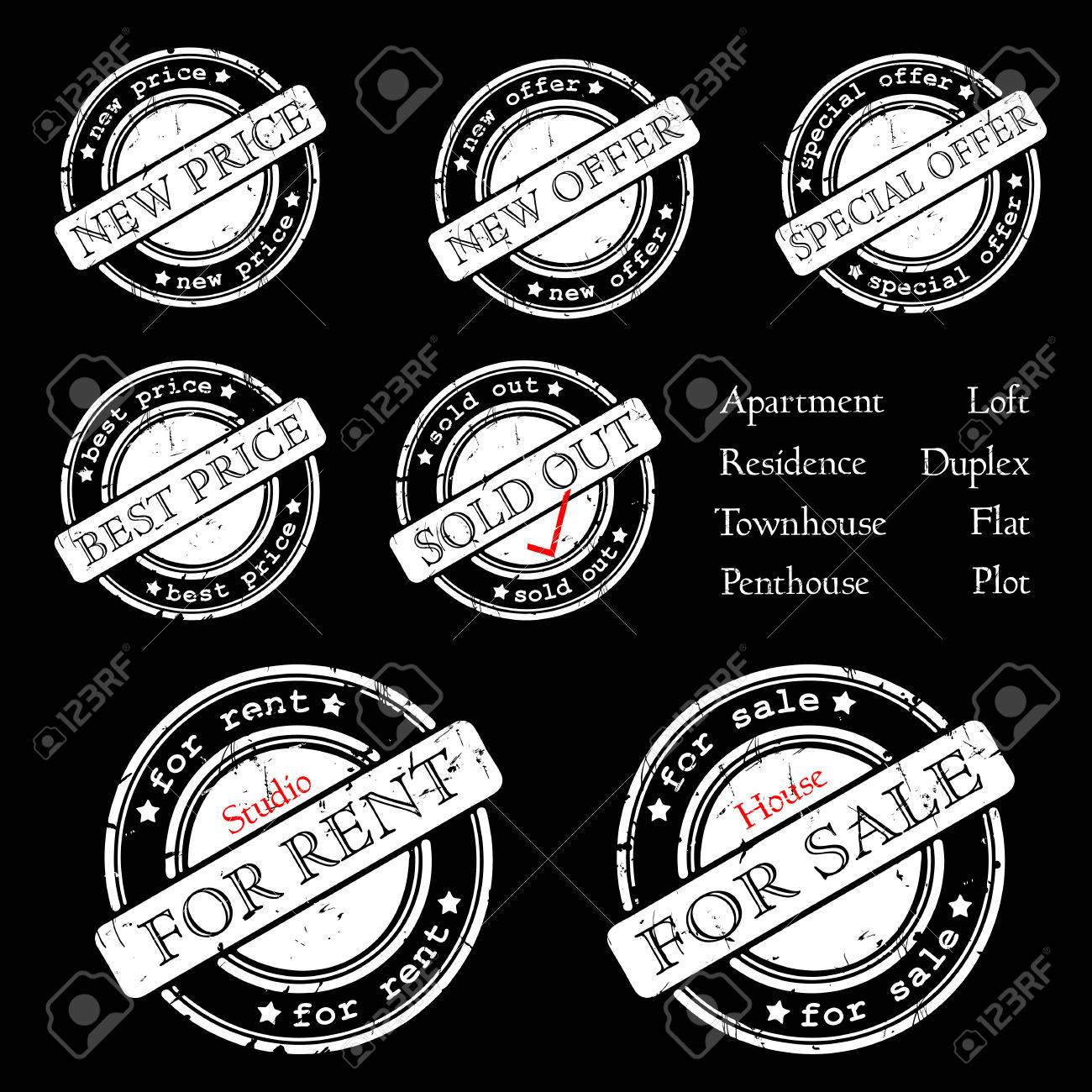 SALE, RENT, SPECIAL OFFER - stamp Stock Vector - 7434384