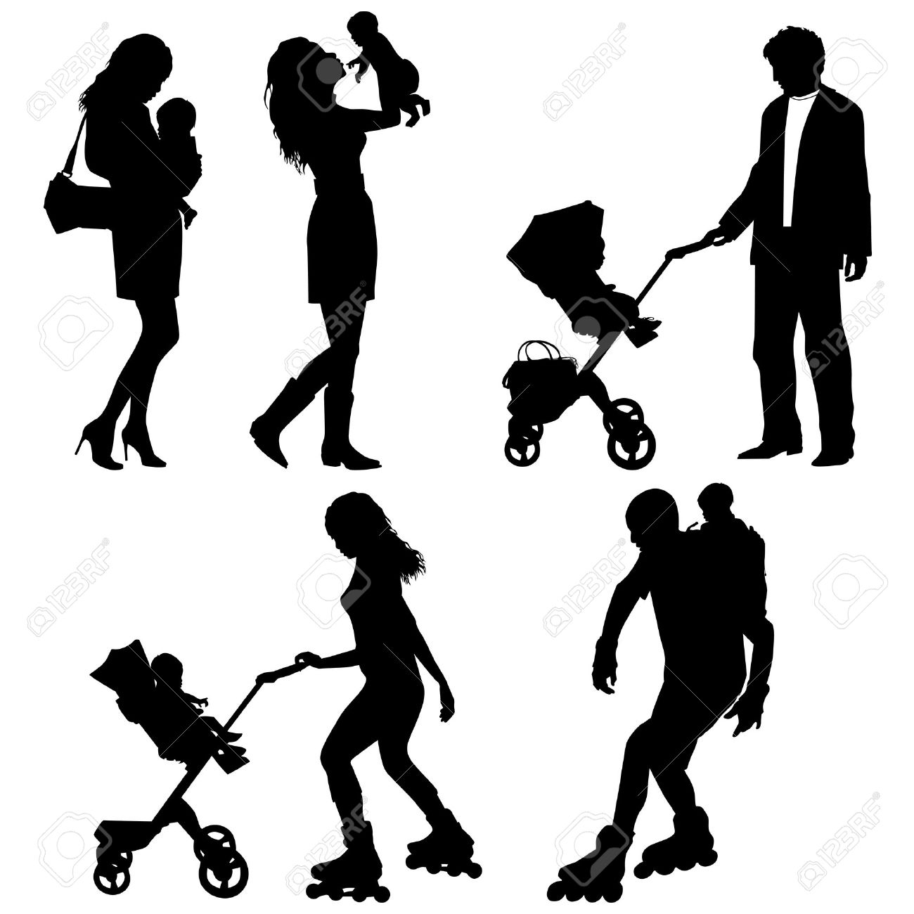 several people with children - vector silhouettes Stock Vector - 9422247
