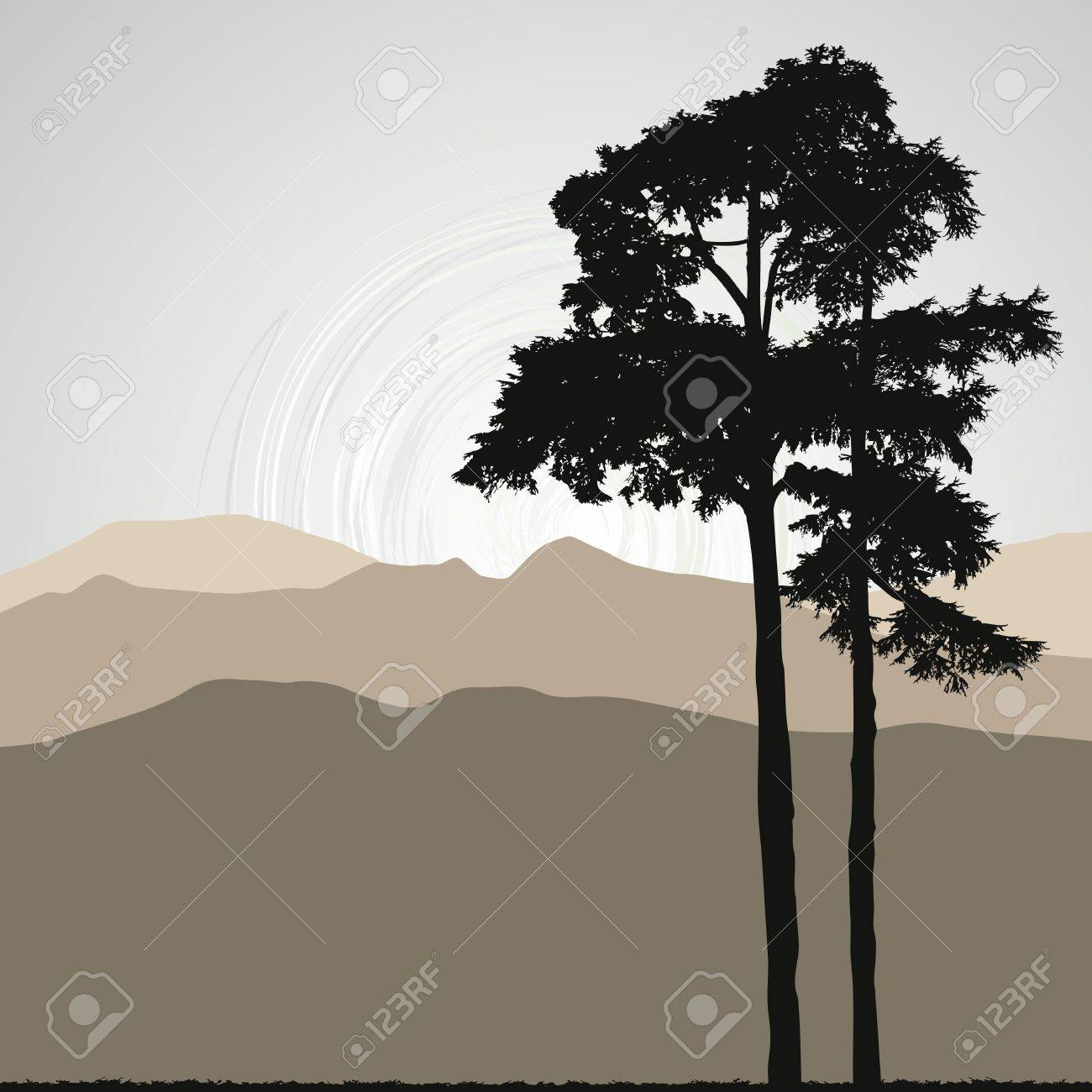 Tree silhouette on an abstract background Stock Vector - 13231548