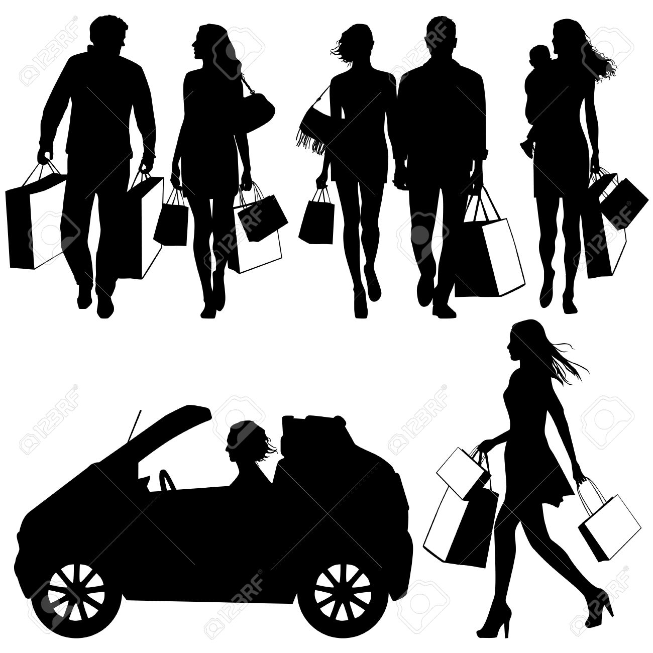 several people, shopping - vector silhouettes Stock Vector - 19334166