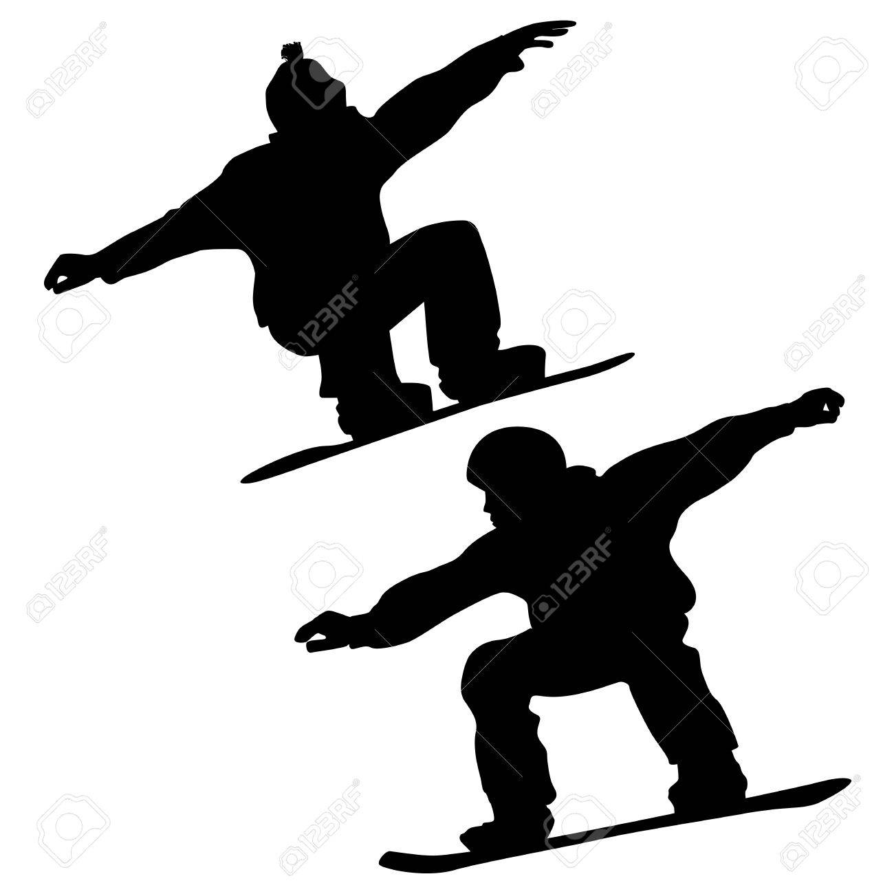 Collection  Snowboarders And A Skier  2D Vector Stock Vector - 23860059