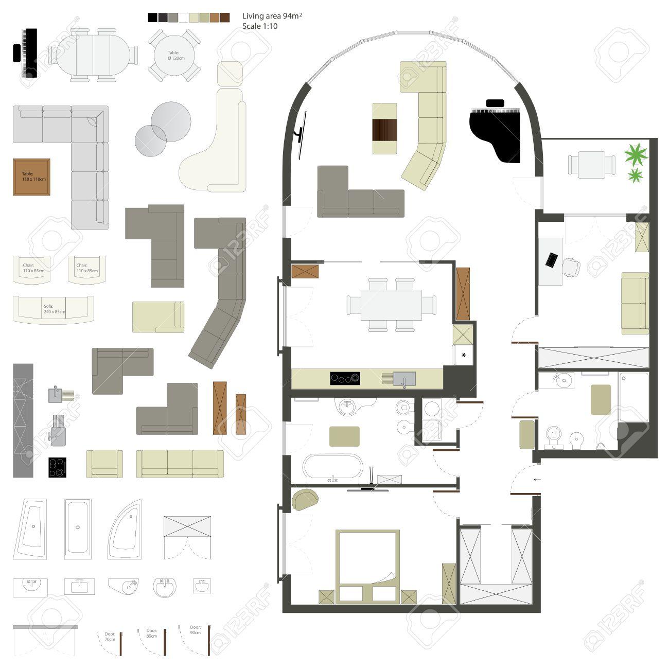 Vector Plano De Proyecci N Con Muebles Set Escala 1 10  # Muebles Dibujo Arquitectonico