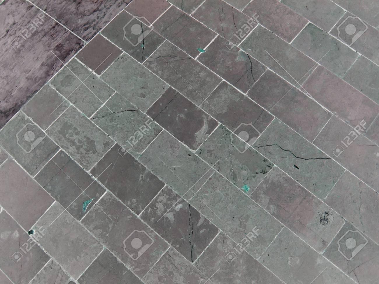Paving brick walkway  The pattern of stone block paving